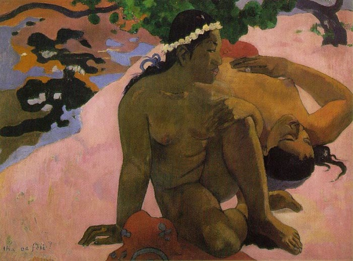 What are you jealous?, 1892, Gauguin Paul, Pushkin Museum, Moscow paintings to artist of ArtRussia