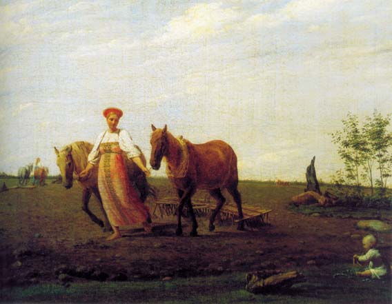 Proughed Field. Spring, 1820, Venetsianov Alexey, The Tretyakov Gallery, Moscow paintings to artist of ArtRussia
