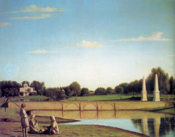 View of the dam in manor Spasskoe of the Tambov province, 1840, Soroka Grigory, The Russian Museum paintings to artist of ArtRussia