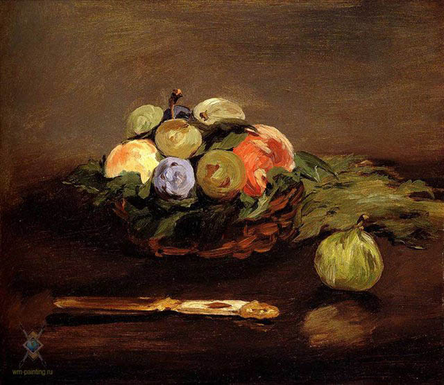 Fruit Basket, 1864, Manet Edouard, Private collection paintings to artist of ArtRussia