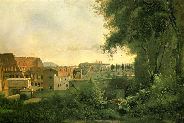View of the Colosseum from the Farnese Gardens, 1826, Corot Jean-Baptiste-Camille, Louvre, Paris paintings to artist of ArtRussia