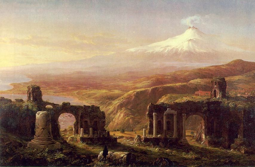 Mount Etna from Taormina, 1844, Cole Thomas, Museum Lymon Allen, New London paintings to artist of ArtRussia