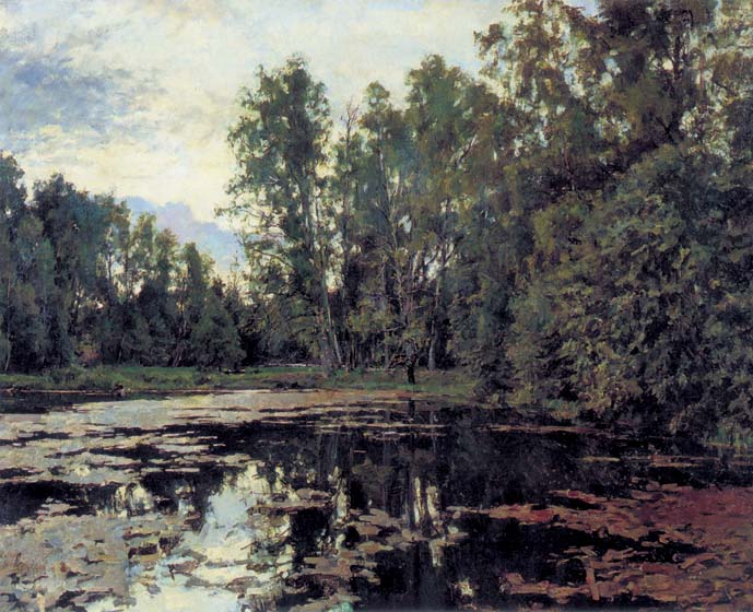 Overgrown pond. Domotkanovo, 1888, Serov Valentin, The Tretyakov Gallery, Moscow paintings to artist of ArtRussia