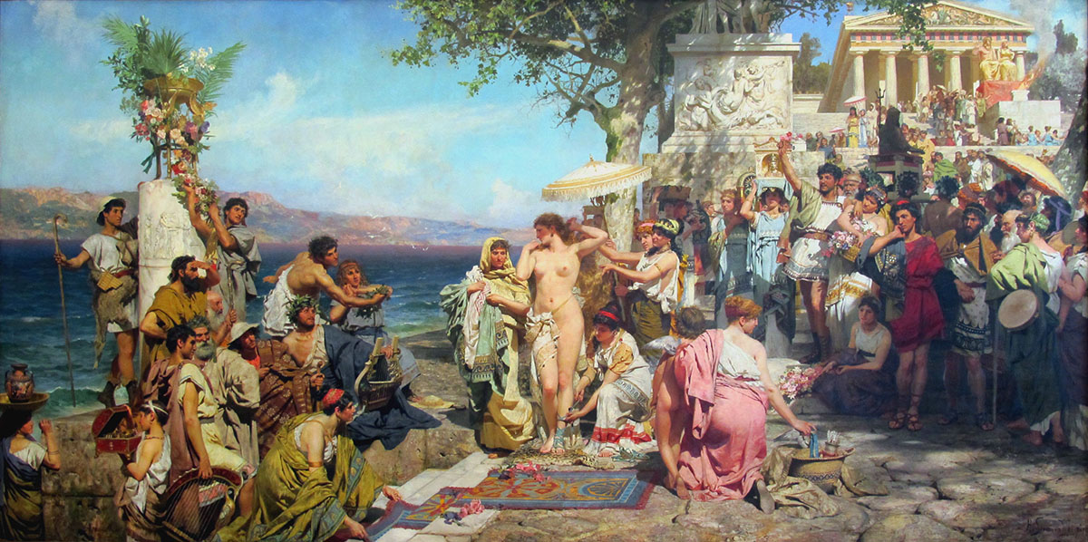 Phryne on the Poseidon festival in Elevzine, 1889, Siemiradzki Henryk, The State Russian Museum, St. Petersburg paintings to artist of ArtRussia