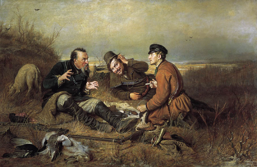 Hunters at Rest, 1871, Perov Vasily, The Tretyakov Gallery, Moscow paintings to artist of ArtRussia