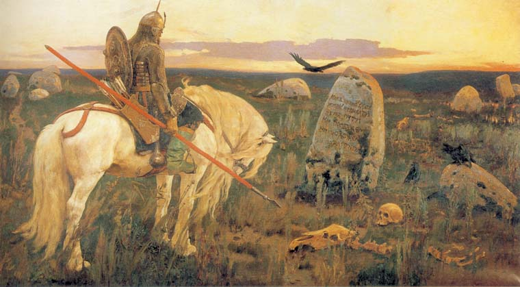 Knight at the Cross-roads, 1881, Vasnetsov Viktor, The Russian Museum, St.Petersburg paintings to artist of ArtRussia
