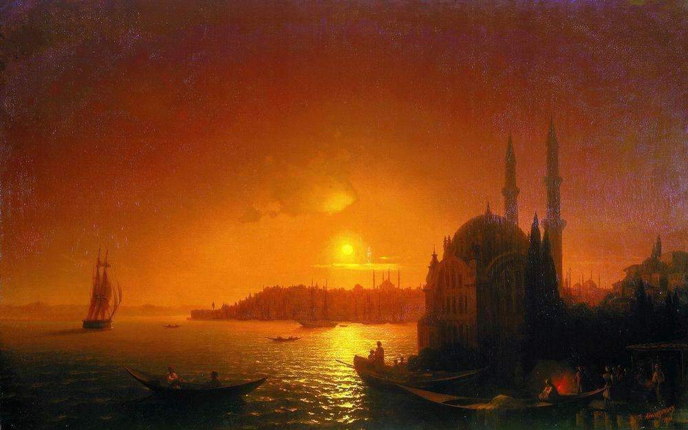View of Constantinople in the moonlight, 1846, Aivazovskiy Ivan, The Russian Museum, St. Petersburg paintings to artist of ArtRussia