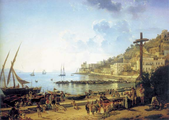 Quay Merdzhellina in Naples, 1827, Shchedrin Sylvester, The Russian Museum paintings to artist of ArtRussia