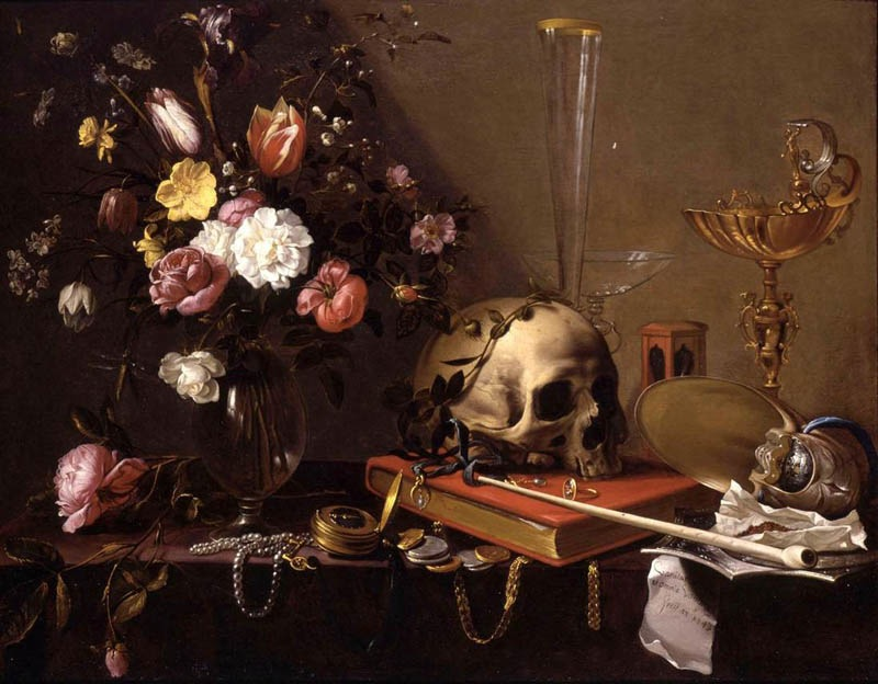 Still life with bouquet and a skull, 1642, Van Utrecht Adriaen, Private collection paintings to artist of ArtRussia
