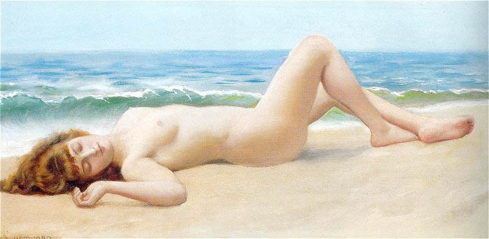 Naked on the shore, 1922, Godward John William, Private collection paintings to artist of ArtRussia