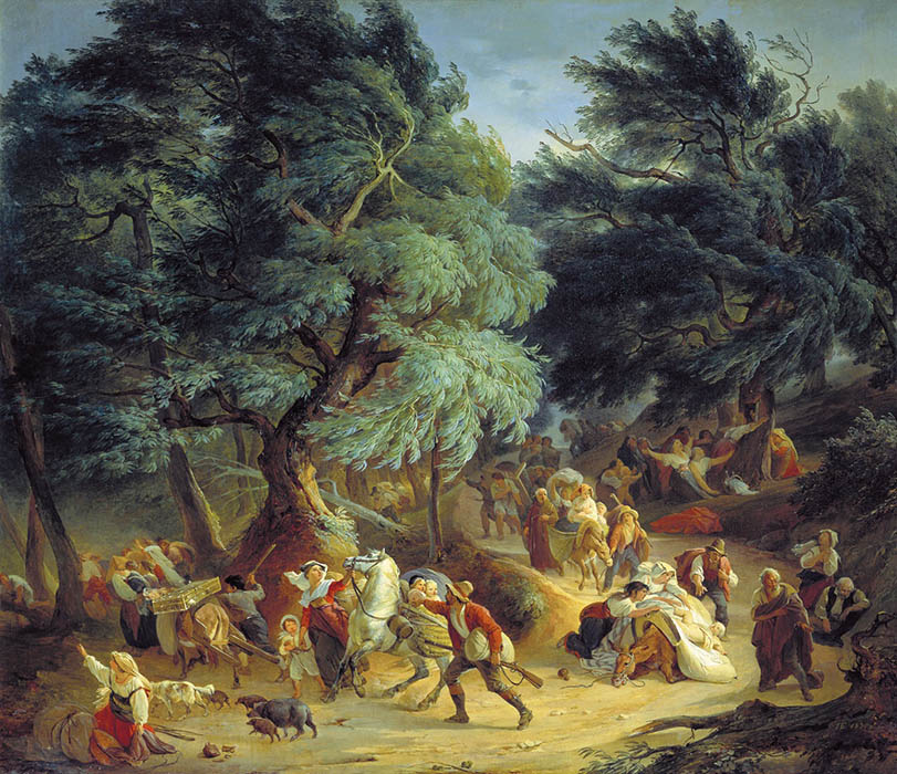 Earthquake in Rokka di Father, near to Rome, 1830, Basin Pyotr, The Russian Museum, St.Petersburg paintings to artist of ArtRussia
