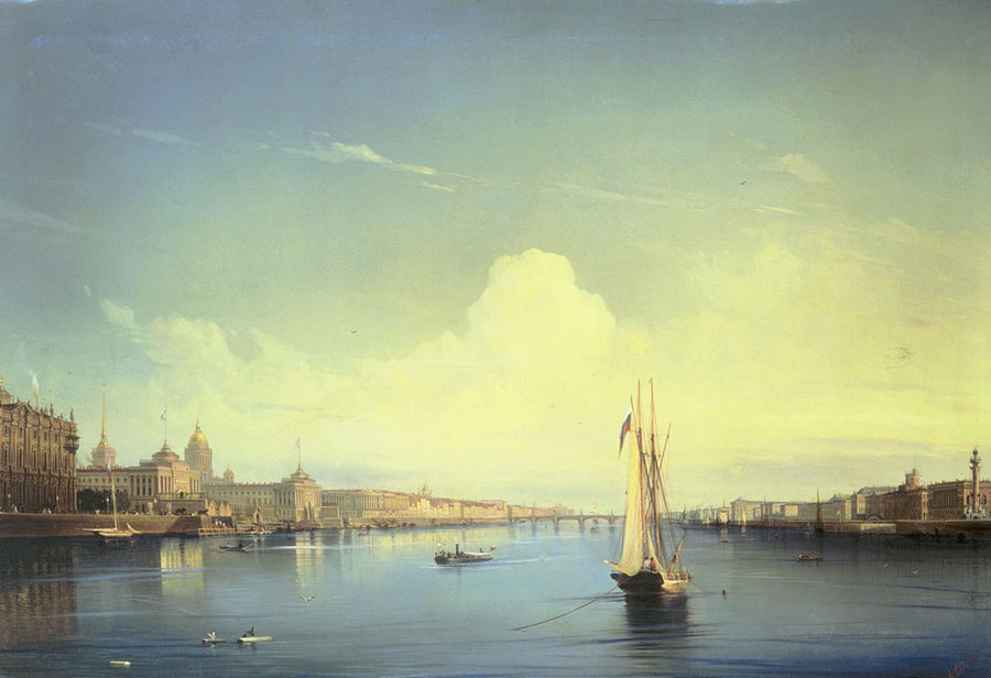 Petersburg at sunset, 1850, Bogolyubov Alexey, The Russian Museum, St.Petersburg paintings to artist of ArtRussia