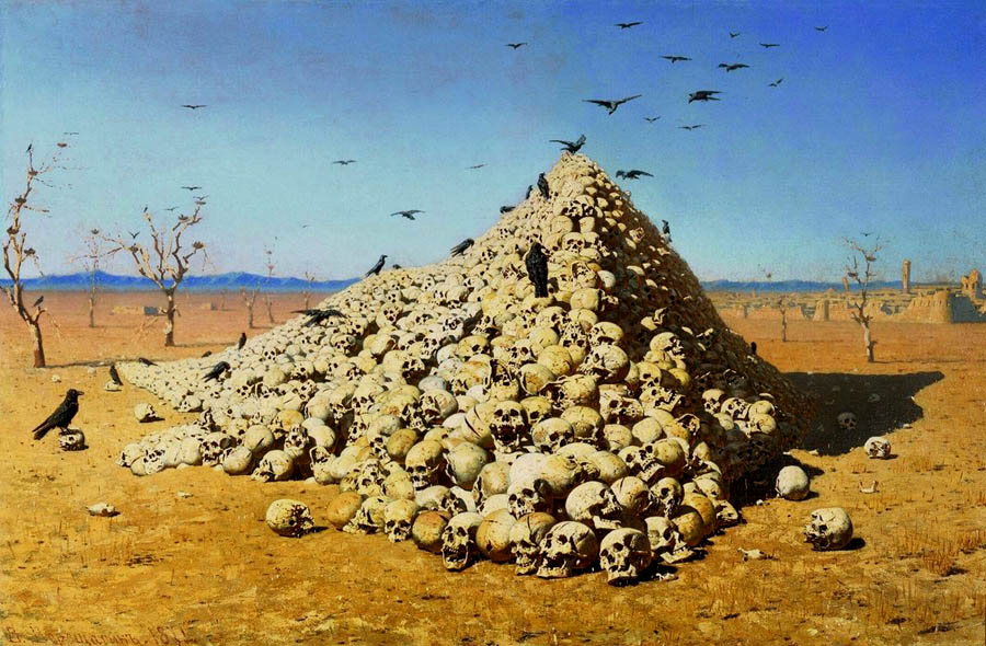 Apotheosis of war, 1871, Vereshchagin Vasily, The Tretyakov Gallery, Moscow paintings to artist of ArtRussia