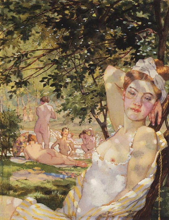 Bathers in the Sun, 1930, Somov Konstantin, The Ashmolean Museum of Art and Archaeology, Oxford, UK paintings to artist of ArtRussia