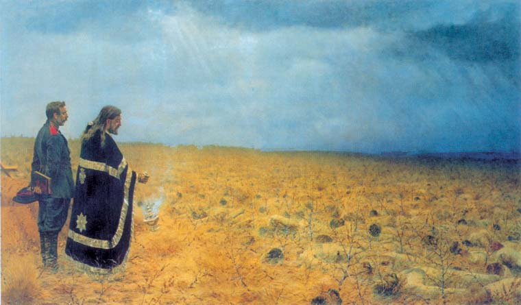 Defeated. Requiem, 1878, Vereshchagin Vasily, The Tretyakov Gallery, Moscow paintings to artist of ArtRussia